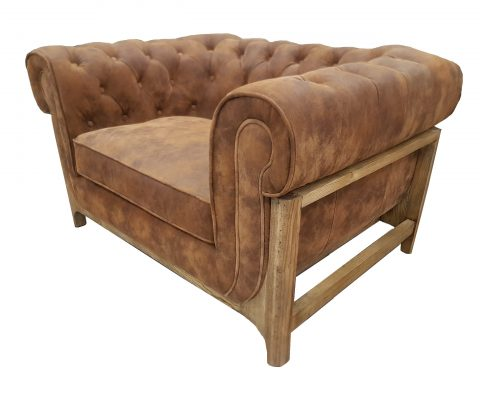Chesterfield Pigskin and Oak Chair