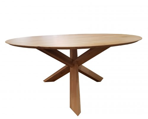 Oak Circular 3 Leg Cross Table