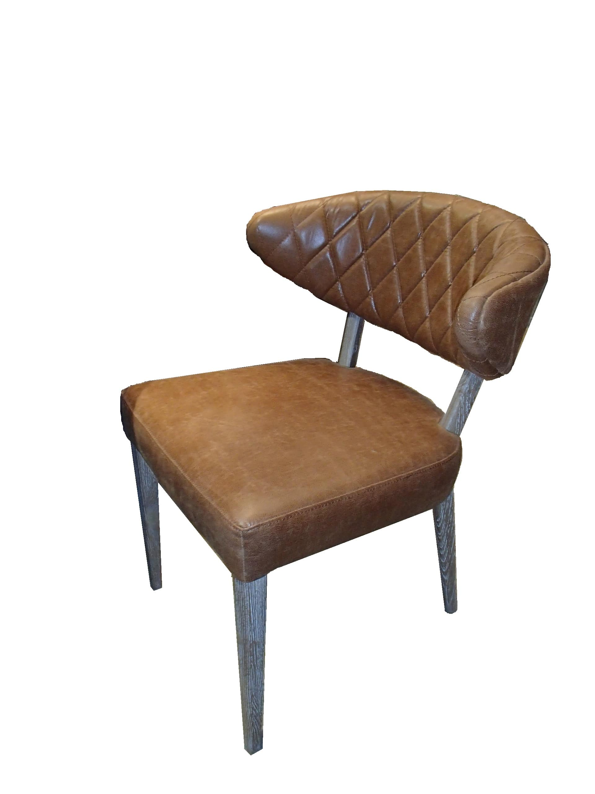 Quilted Wrap Leather and Oak Dining Chair