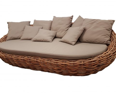 Rattan Oval Sun Bed